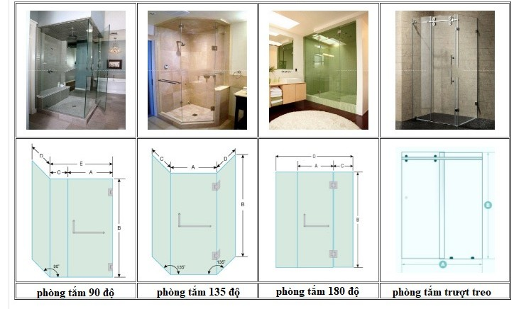 Hình ảnh và bản vẽ phòng tắm kính hiện nay đang sử dụng
