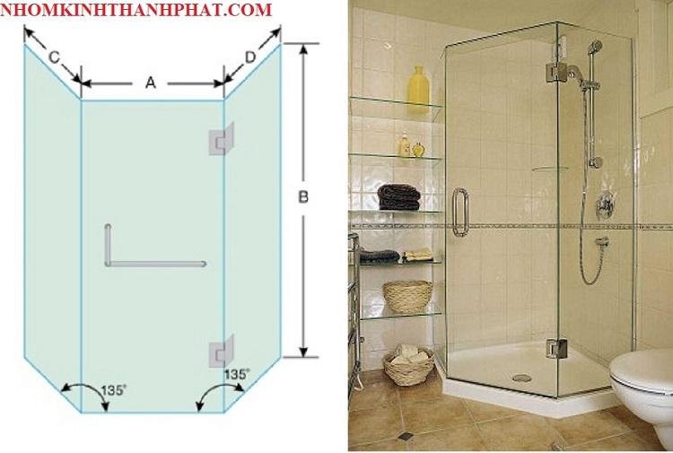 Bản vẽ và hình ảnh phòng tắm kính 135 độ