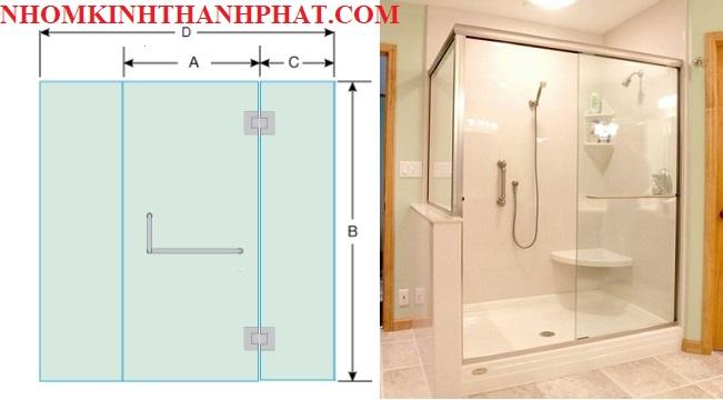 Bản vẽ và hình ảnh phòng tắm kính 180 độ