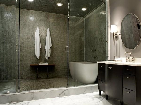 Phòng tắm kính đẳng cấpbao gồm bồn tắm bên trong phòng tắm